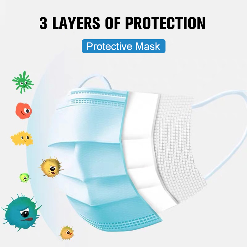 Image 2 - 100PCS Disposable Masks Anti Virus Face Mask Protective Mask Dust  proof 3 layers Non Woven Soft Mask Shipped Within 48 hours  -