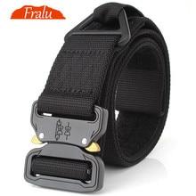 FRALU New Mens Nylon belt Metal insert buckle military nylon Training belt Army tactical belts for Men Best quality male strap