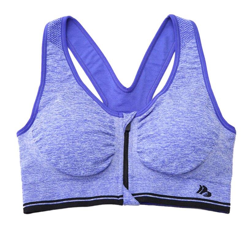 Сексуальный женский спортивный бюстгальтер пуш-ап, тянущийся бесшовный тренировочный топ на бретелях, спортивный бюстгальтер с молнией спереди - Цвет: Синий