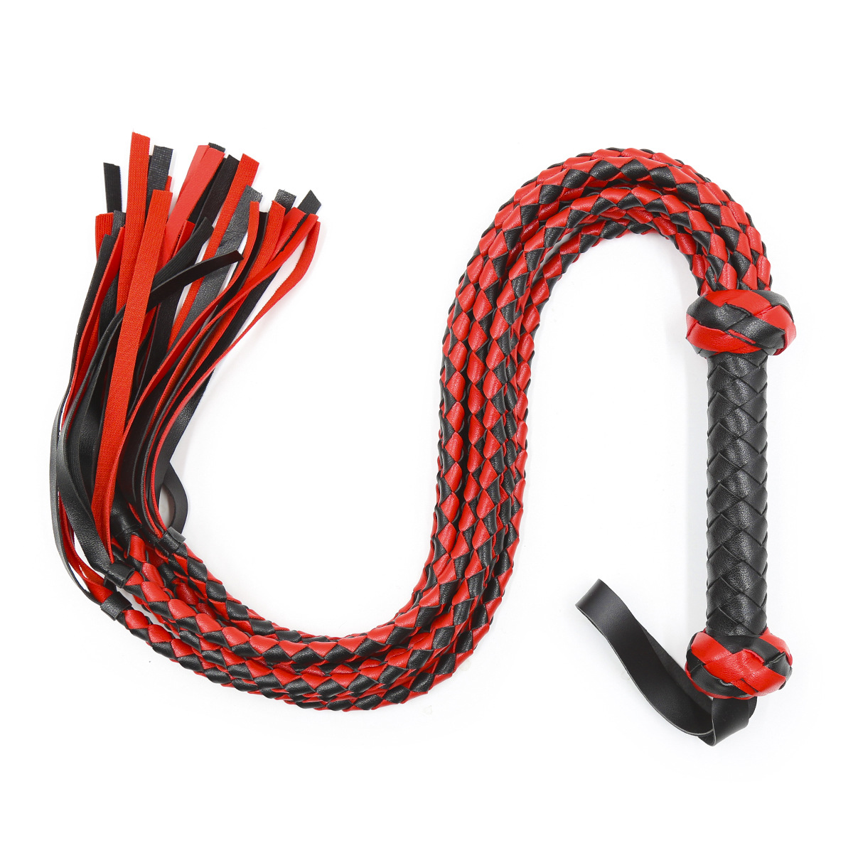 Fetish Black&Red PU Leather Whip Flogger Handle Spanking Paddle Knout Flirt BDSM <font><b>Adult</b></font> <font><b>Game</b></font> Erotic <font><b>Sex</b></font> <font><b>Toys</b></font> <font><b>for</b></font> Women <font><b>Couples</b></font> image