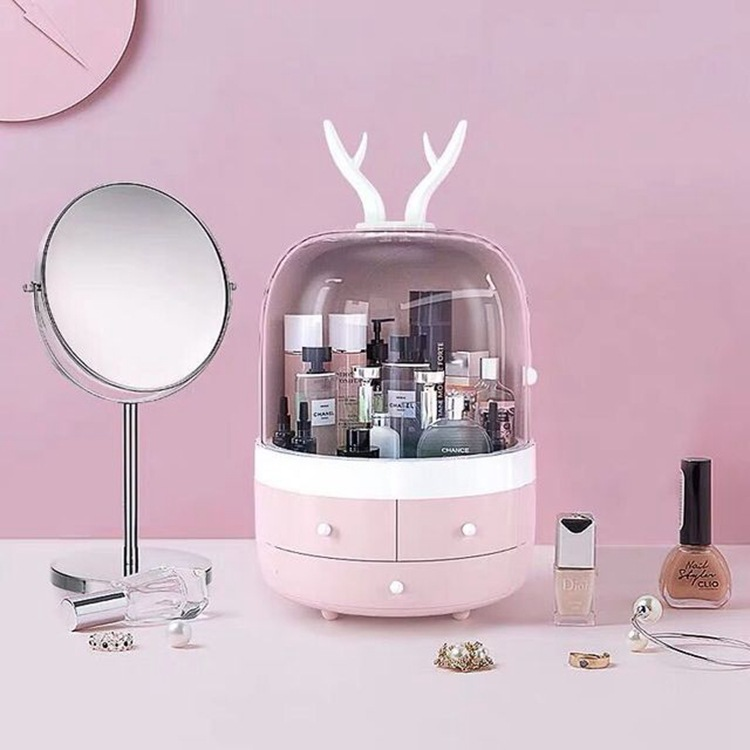 Online Celebrity Makeup Storage Box Desktop Storage Organizing Jewlery Box Large Space Cute Pet Modeling ABS Material
