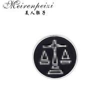 Meirenpeizi весы, броши для мужчин, круглые значки для баланса, брошь для костюма на булавке, воротник, украшение, аксессуары для рубашки, брендовые ювелирные изделия