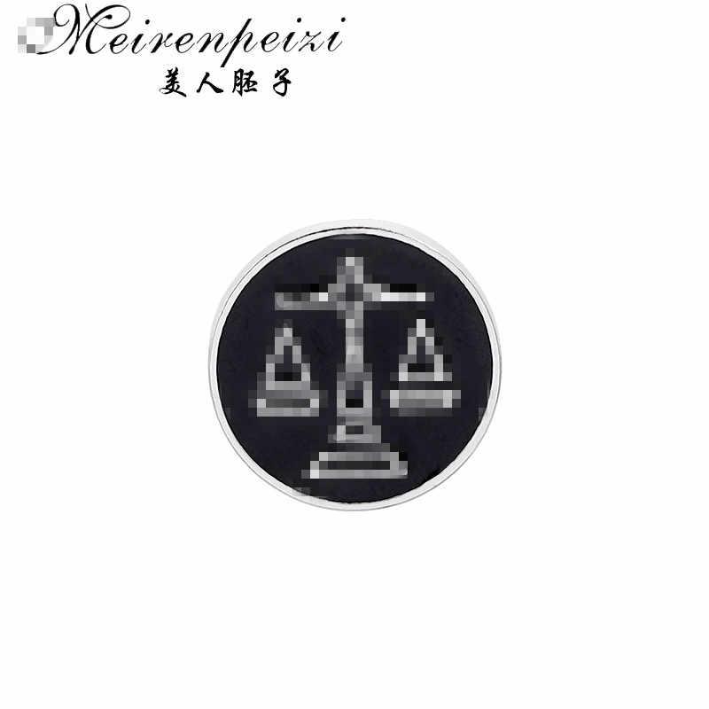 Meirenpeizi Balance balances broches pour hommes rond Balance Badges costume broche broches col décoré chemise accessoires marque bijoux