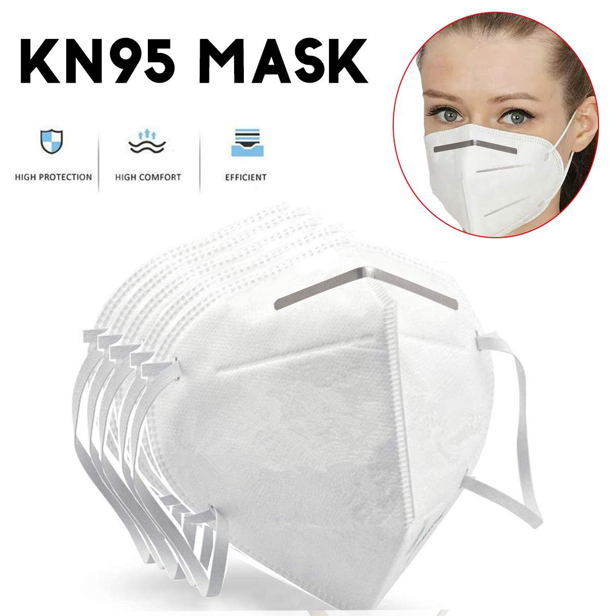 Image 4 - 50PCS Non Woven Disposable Face Mask 3 Layers Medical Dental  Earloop Anti Dust Face Surgical Masks 2/10PCS KN95 Mouth Face Masks  -