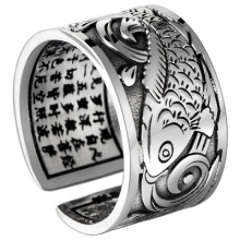 925 Sterling Silver Ring the fish ring fashion Ring Adjustable Ring Retro Thai Silver fashion Ring