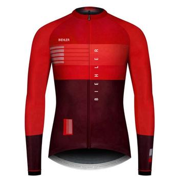 BIEHLER 2020 najwyższej jakości męska koszulka kolarska z długim rękawem tight fit koszulki rowerowe szosowe odzież rowerowa topy tanie i dobre opinie Poliester Pełna Wiosna Lato AUTUMN Zamek na całej długości Jazda na rowerze Pasuje prawda na wymiar weź swój normalny rozmiar