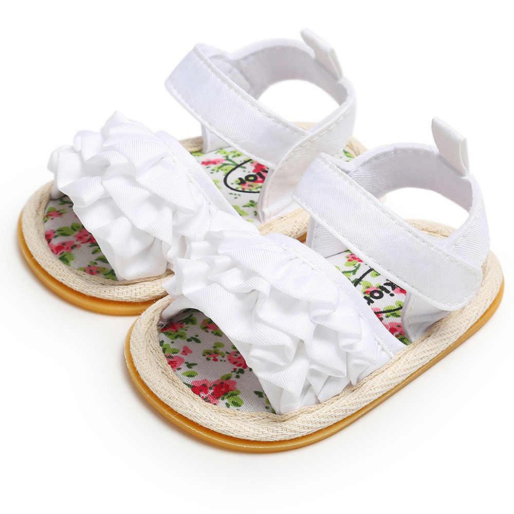 Zapatos de bebé Niña Zapatos Chatos para niños pequeños sandalias Premium suela de goma suave antideslizante verano flor encaje cuna primeros zapatos de andar