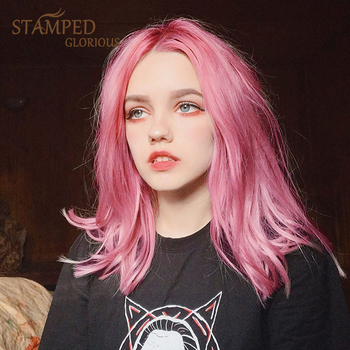 houyan sbaseball hat straight hair heat resistant fiber wig synthetic short heat resistant fiber cut short wig Stamped Glorious 12inches Short Straight Synthetic Wig Pink Wig for Women Middle part Heat Resistant Fiber Cosplay Wig