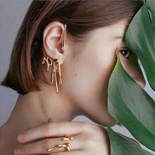 TIMEONLY Unique Design Dripping Wax Shape Metal Clip Earring for Women Girls Irregular Charms Earrings Hyperbole Jewellery