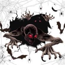 Autocollants muraux d'horreur d'halloween, autocollant De porte d'araignée De Zombie, autocollant De fenêtre pour la maison