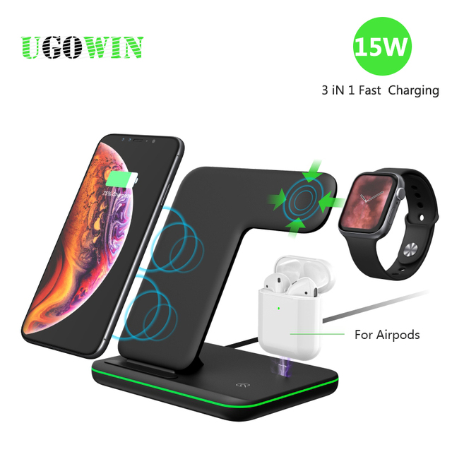 Wireless Charger Stand 3 in 1 Qi 15W Fast Charging Dock Station for Apple Watch iWatch 5 4 3 AirPods Pro For iPhone 11 XS XR X 8