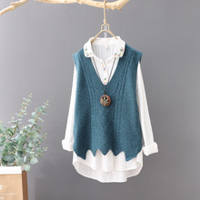 Sleeveless Literary Fan Knitted Sweater Vest Female V-neck Solid Color Jacquard Small Fresh Straight Sweater Sweater Vest Women