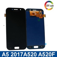 For Samsung Super AMOLED LCD A5 Galaxy A520 2017 SM-520F A520M touch screen digitizer unit with brightness adjustment