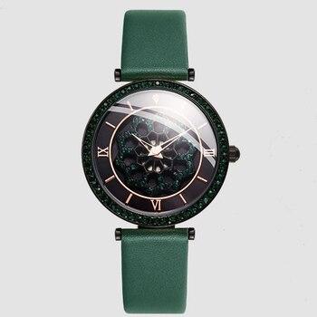 Модные женские Кварцевые Наручные Часы Guou с цветком и бриллиантами, женские часы с циферблатом и поворотом, женские часы