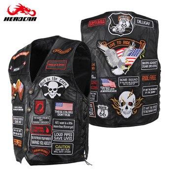 Leather Motorcycle Jacket Men Women Embroidery Patches Vintage Retro Motorcycle Vest Motorbike Moto Autumn Winter Plus Size 4XL