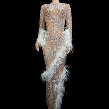 Сексуальное Сетчатое прозрачное блестящее длинное платье, стразы, перо, вечерние платья знаменитостей, наряд на день рождения, сценический костюм