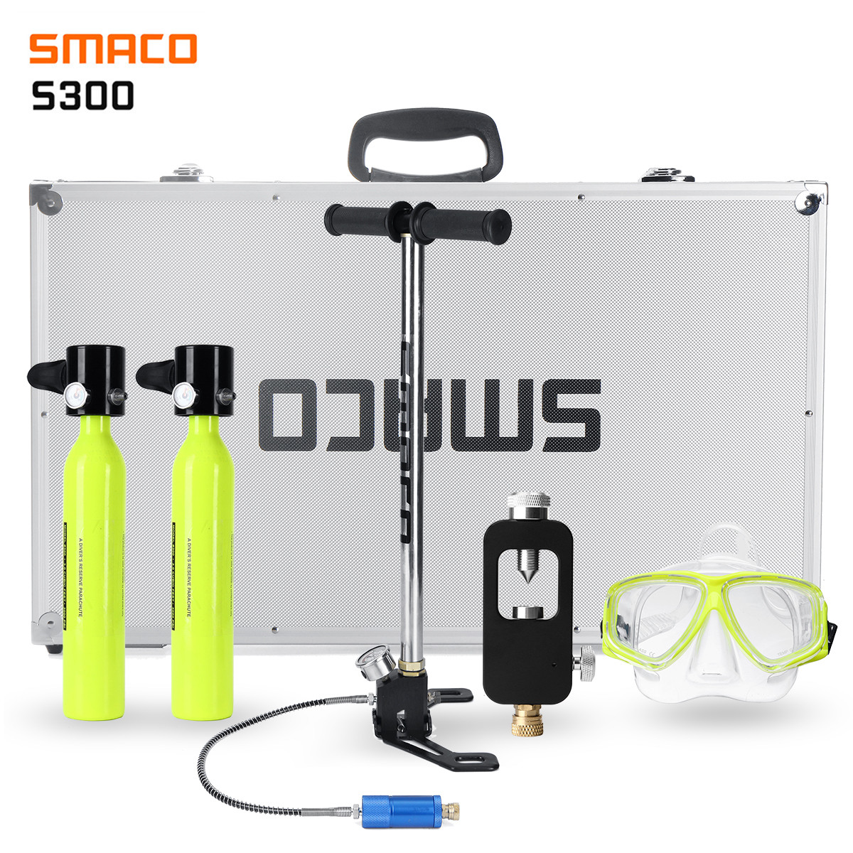 SMACO 2 People Set Diving System Mini Scuba Cylinder Scuba Oxygen Reserve Air Tank Pump Aluminum Box Snorkeling Diving Equipment