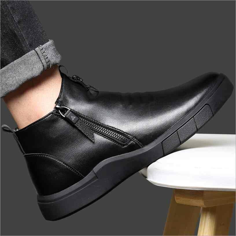 CS807 scarpe da uomo progettista del Cuoio Genuino di 100% fodera in lana di inverno super-Tenere In caldo outdoor Stivali Stivaletti Da Neve Stivali casual Scarpe Da Ginnastica