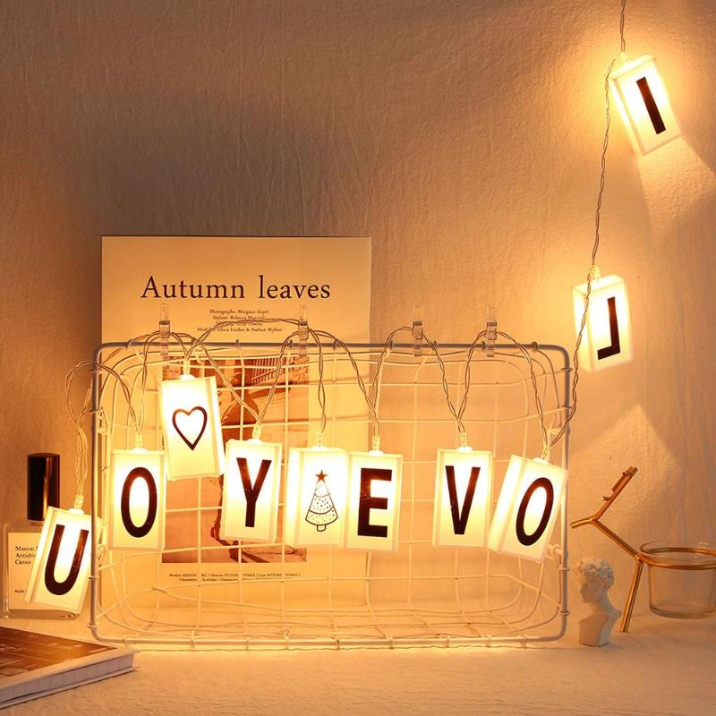 10 LED English Letters Lamp String Energy Saving Environmental Protection For Xmas Wedding Valentine Party Lights Decor