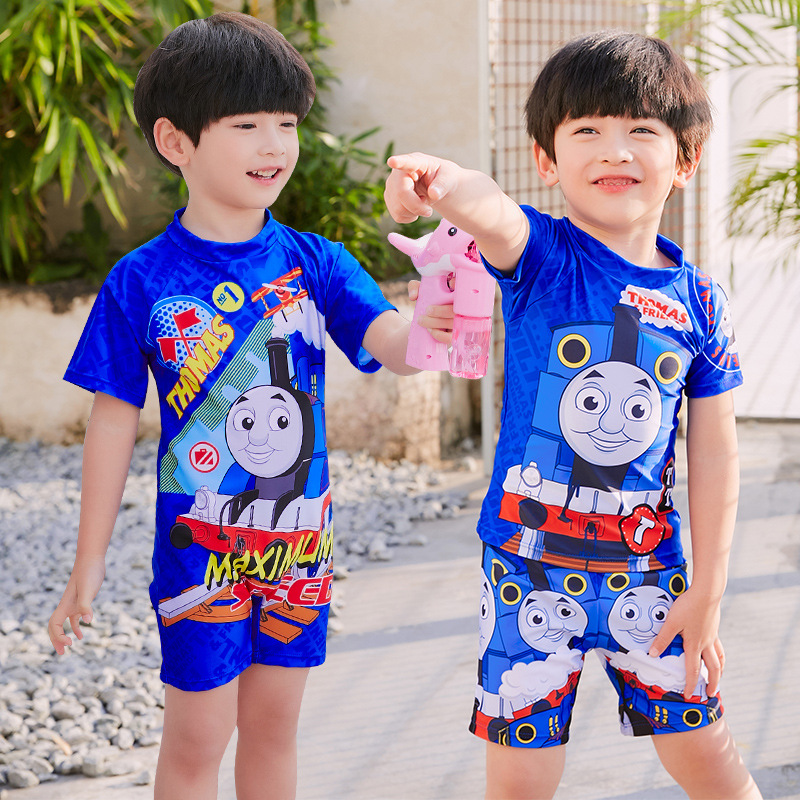 New Style KID'S Swimwear Trend Cute Cartoon Thomas And His Friends One-piece Boxers Swimsuit For Boys