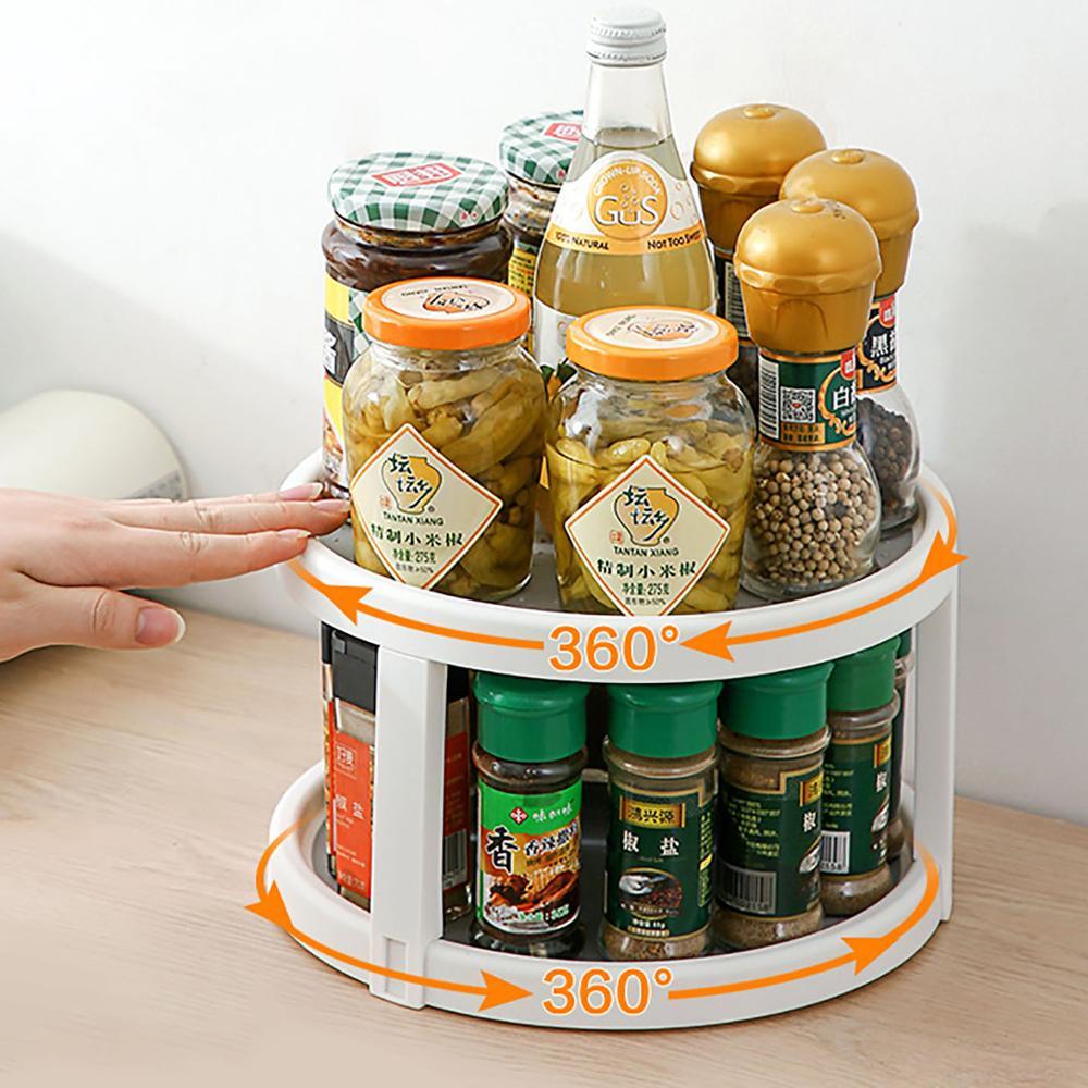 Double Layers Rotating Seasoning Rack Kitchen Supplies Oil Salt Sauce Vinegar Storage Rack Kitchen Organizer Space Save
