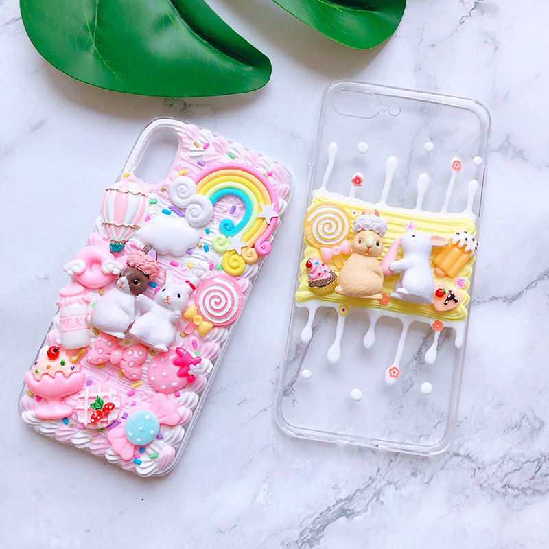 DIY case for Samsung Note10 plus 3D rabbit phone cover for Galaxy s10 plus S6/s7/s8/9+ handmade creamy shell note8/9 girl gift image