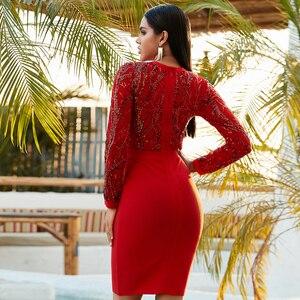 Image 5 - חורף סתיו נשים שחור תחרה נצנצים חלול החוצה ארוך שרוול ערב אלגנטי שמלות אביב מסיבת הלילה סקסי תחבושת Vestidos