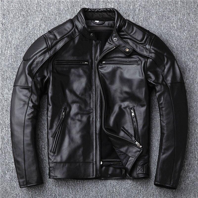 YR!Free Shipping.sales.Brand Motor Style Leather Jacket Men.winter Warm Black Genuine Cow Hide Coat.classic Biker Skull Jacket