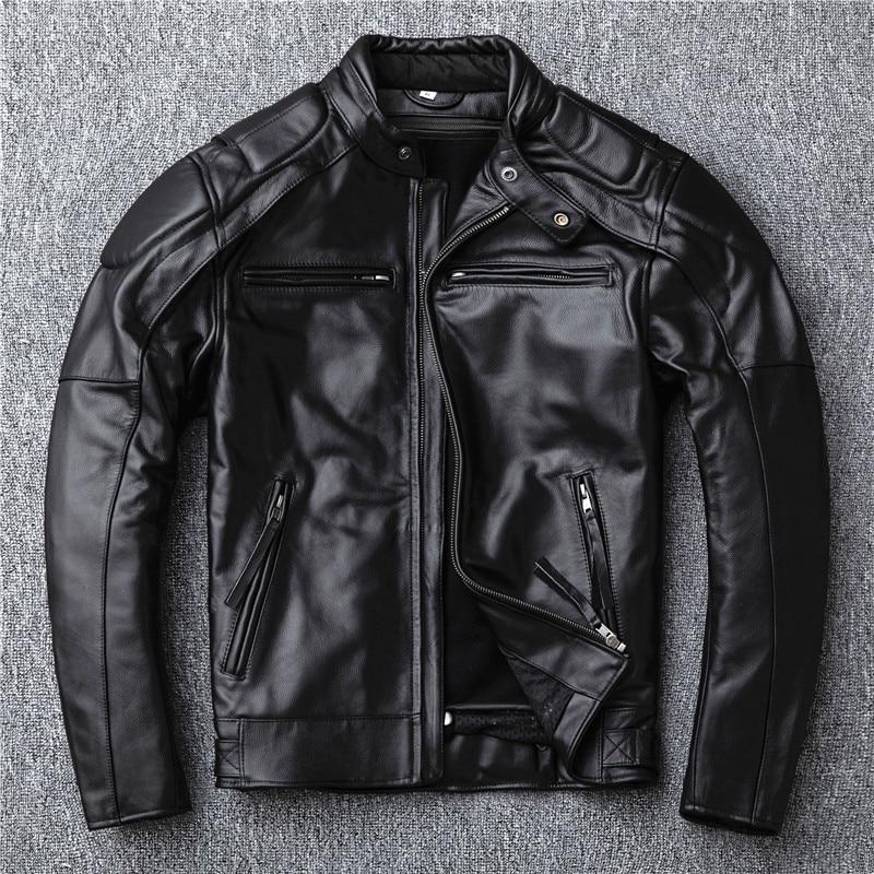 YR! Бесплатная доставка. Распродажа. Брендовая кожаная куртка в моторном стиле для мужчин. Зимнее теплое Черное пальто из натуральной коровьей шкуры. Классическая байкерская куртка с черепом Кожаные куртки      АлиЭкспресс