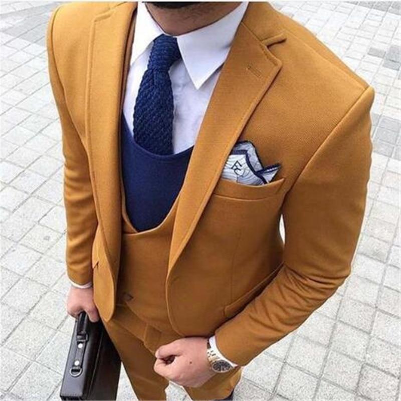 Business Men Suits Custom Made 3 Piece (Jacket+Pants+Vest+Tie) Wedding Tuxedos Groom Prom Latest Design Blazer