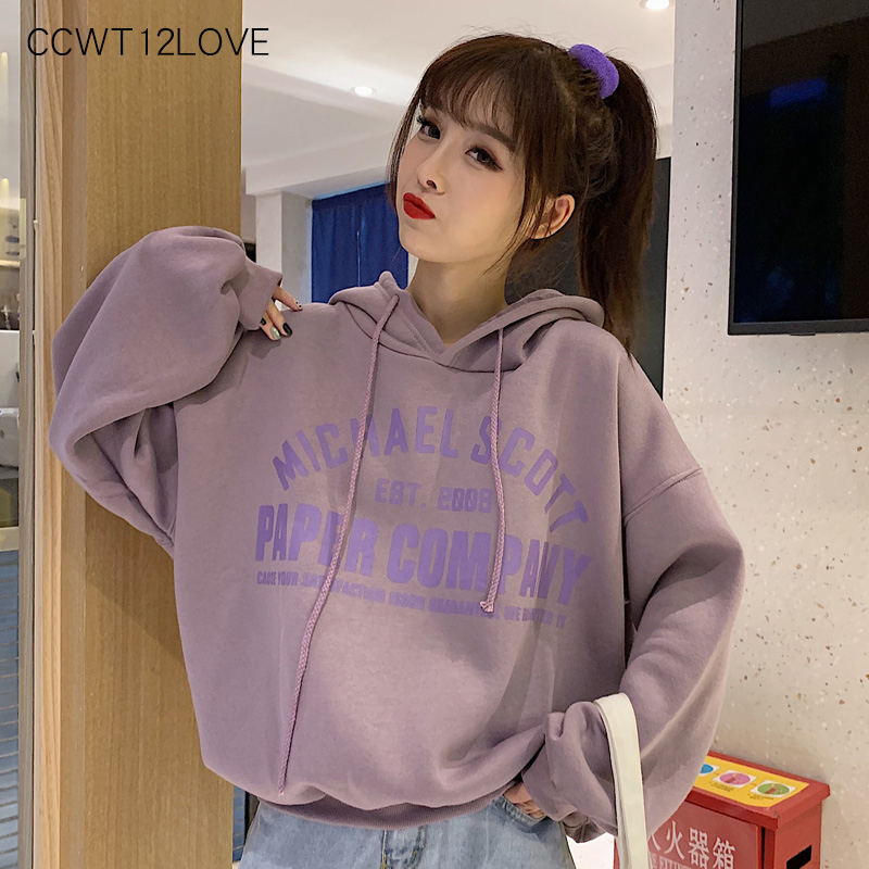 Casual Hoodies Women 2019 Loose Letter Print Hoodies Sweatshirts Ladies Autumn Winter Hooded Sweatshirt Women Long Sleeve