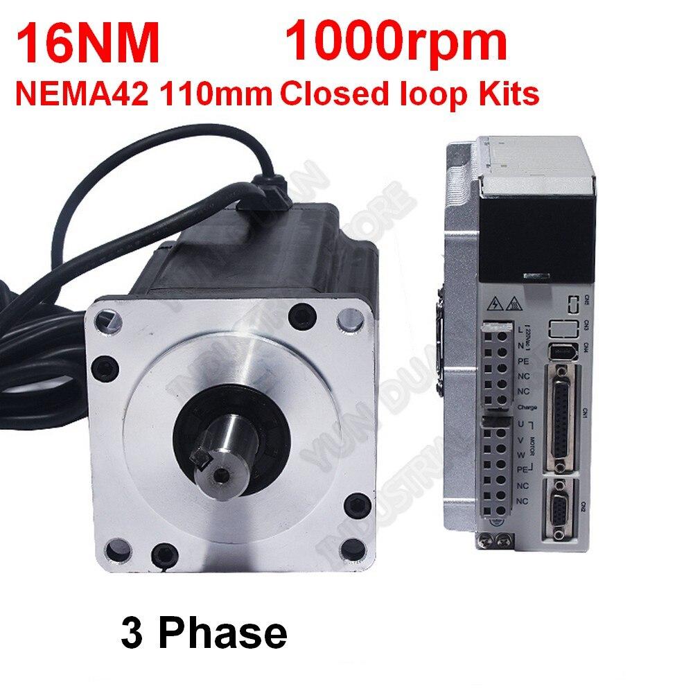 220В NEMA42 110 мм 16нм 2300Oz-in 1000 об./мин 19 мм Hybird замкнутый цикл шаговый 3PH Мотор привод комплект легкий сервопривод для ЧПУ Гравировальный маршрутиз...