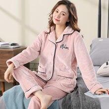 Зимняя пижама из кораллового флиса для женщин теплая утепленная