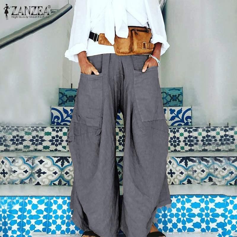 2020 ZANZEA Summer Wide Leg Pants Women's Trousers Casual Solid Elastic Waist Pant Female Front Pockets Pantalon Fashion Palazzo