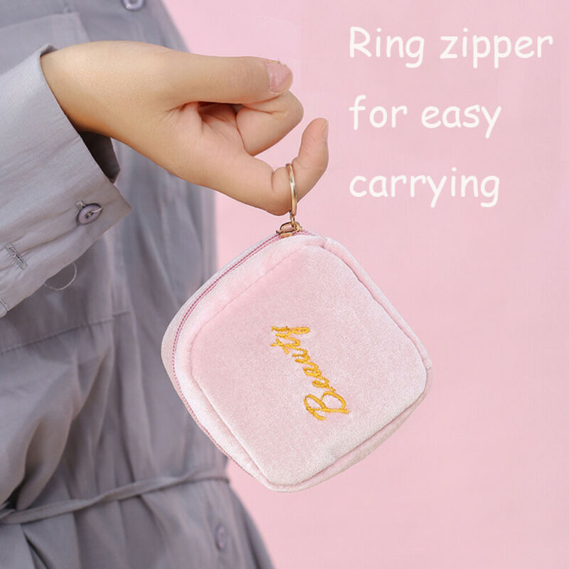 New Woman Portable Sanitary Storage Bag Outdoor Travel Storage Towel Coins Key Cosmetic Bags Velvet Lipstick Zipper Small Bag