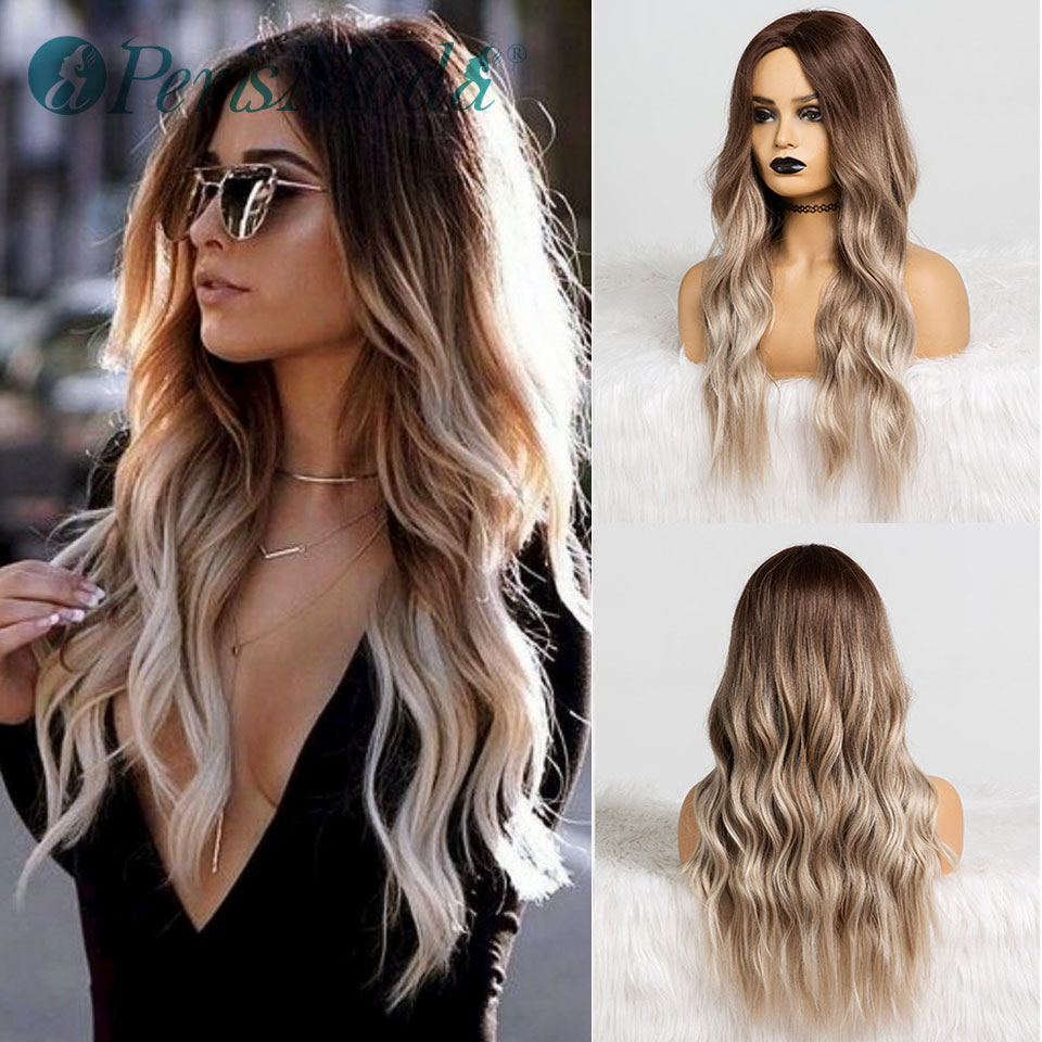 Synthetic Wigs For Black Women Long Wavy Middle Part Cosplay Fiber Wig PerisModa Ombre Brown Heat Resistant Cheap Synthetic Wigs