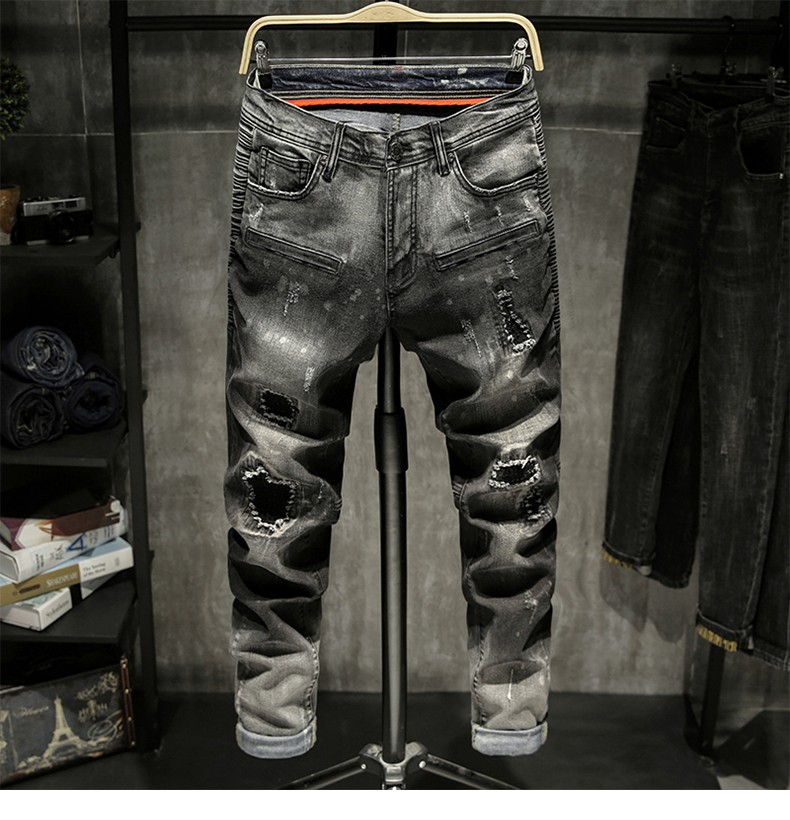 Black Jeans Men Ripped Faded Slim Fit Elastic Pleated Torn Men's Motorcycle Pants Biker Jeans