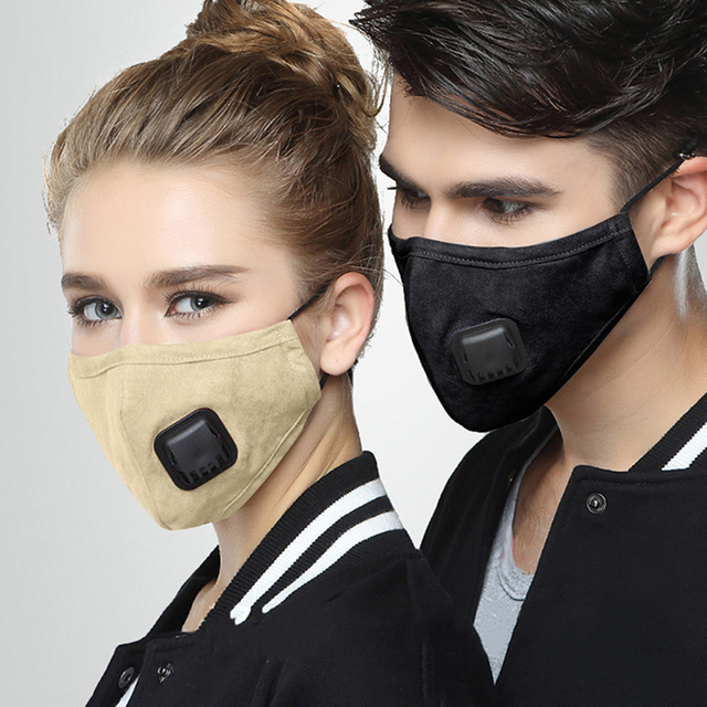 Anti Dust PM2.5 Flu Mouth Mask Filter Respirator Breath Valve Black Masks Cotton Washable  Face masks Man Women
