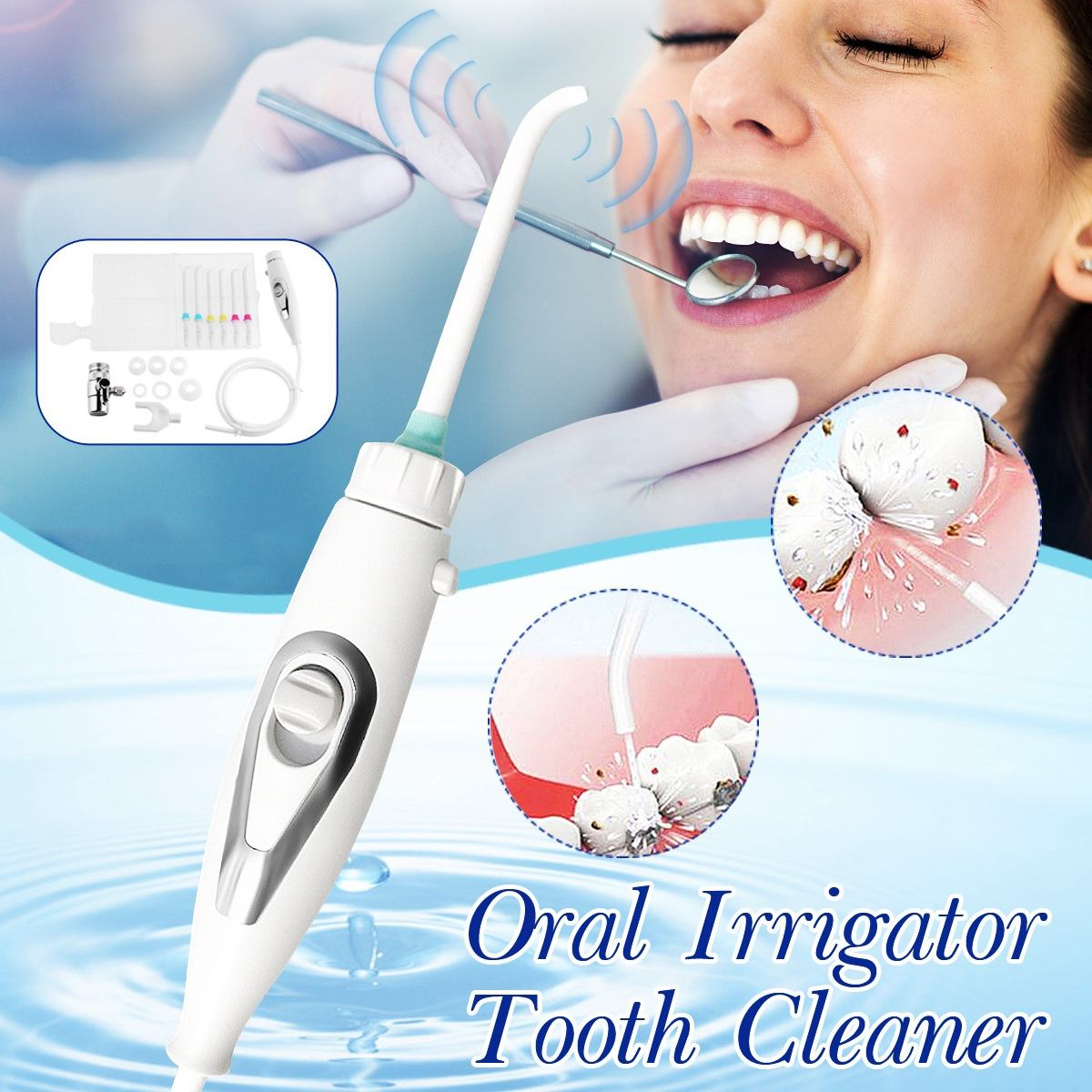 6pcs Nozzle Faucet Water Dental Flosser Portable Oral Irrigator Switch Jet Floss Toothbrush Irrigation SPA Teeth Tooth Cleaning