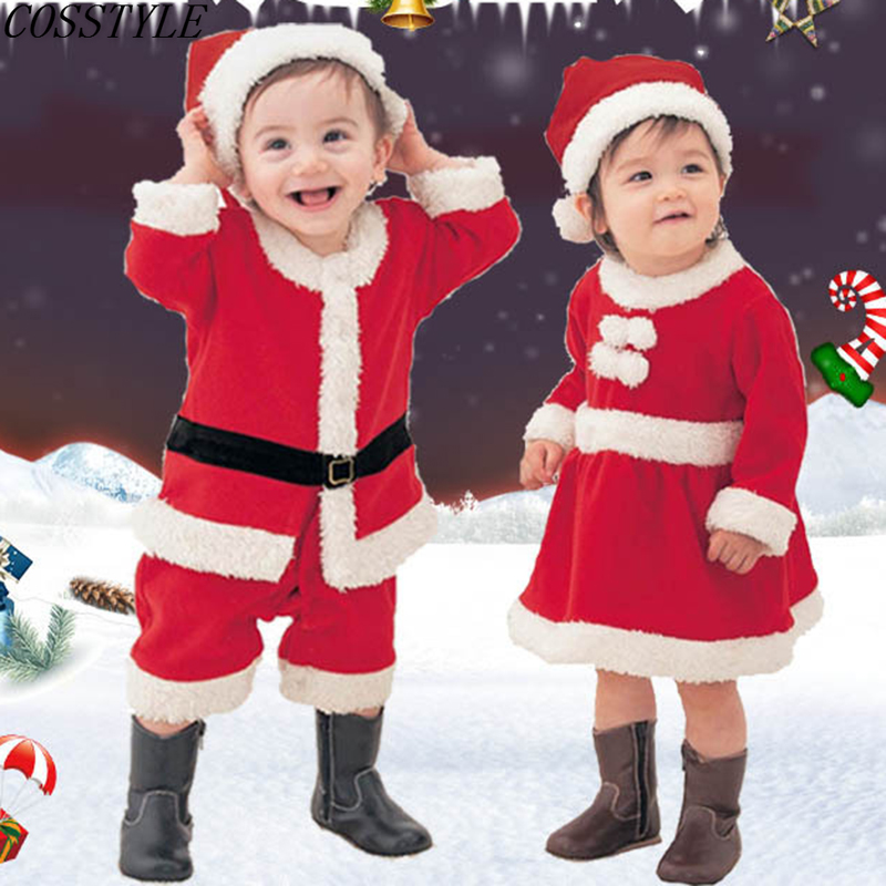 Toddler Baby Girls Boys Christmas Santa Claus Outfits Hat Costume Xmas Clothes