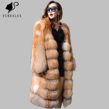 Red Fox Fur Coat Winter Warm Cloth Fashion Real Natural Coats Leisure Time Pure Outerwear Thick Promotion