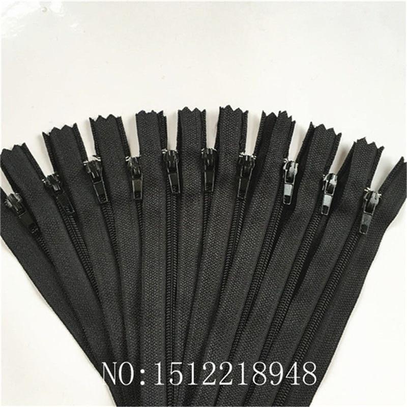 10 шт. 3 дюйма-24 дюйма(7,5 см-60 см) нейлоновые застежки-молнии для шитья на заказ нейлоновые молнии оптом 20 цветов - Цвет: black