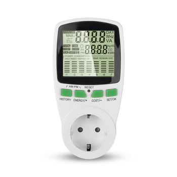 Miernik mocy LCD Wattmeter inteligentne gniazdo licznik energii KWh napięcie prądu częstotliwość Monitor energii elektrycznej tanie i dobre opinie KEBETEME 0-9999V 230 v Cyfrowy tylko 230V energy meter Normal High quality 19A i Pod