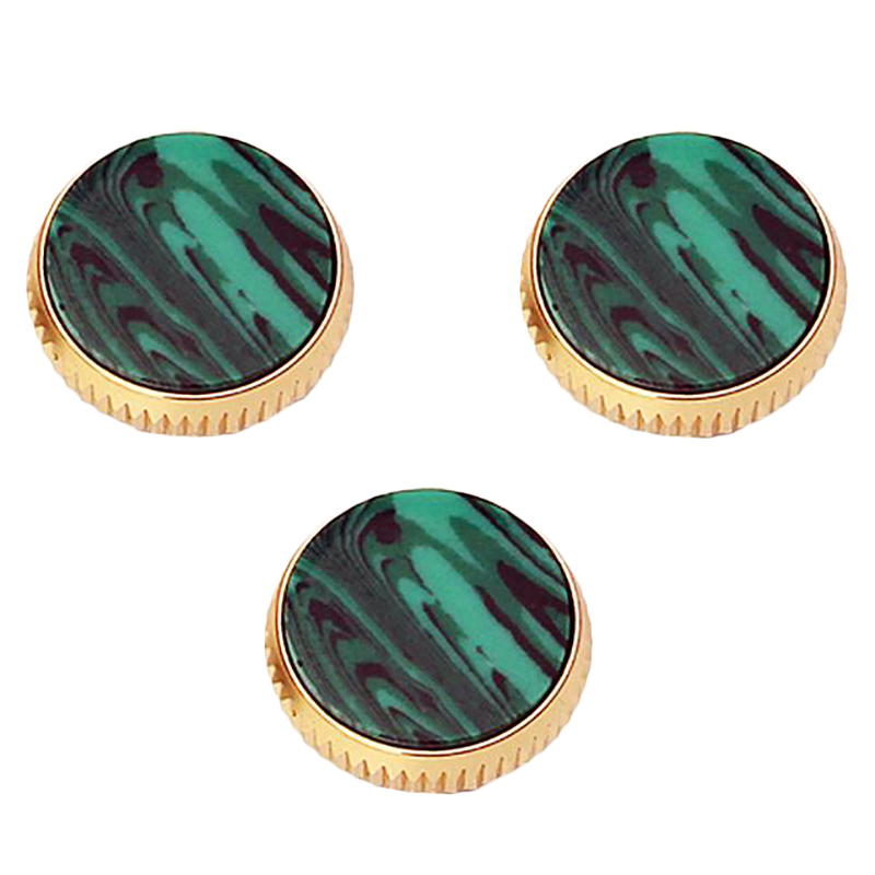 3 Pieces Of Gold Plated Malachite Insert Finger Buttons For Trumpet Repairing Brass Instruments Accessories