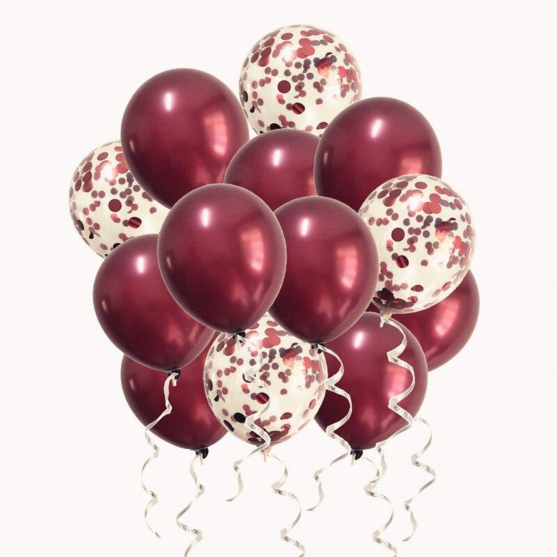 Balões de borgonha metálicos para decorar festas, conjunto com balões metálicos rosa ou com confete metálicos para decoração de festas, aniversários e casamentos, 20 peças