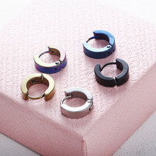 New Fashion Small Round Earrings for Women Men Silver Gold Stainless Steel Earring Earring Colored Circle Earrings Jewelry(China)