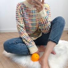Suéter de cuello alto holgado para mujer, jersey de arcoíris para mujer, suéter coreano de cuello alto holgado con cuello redondo, ropa elegante para mujer