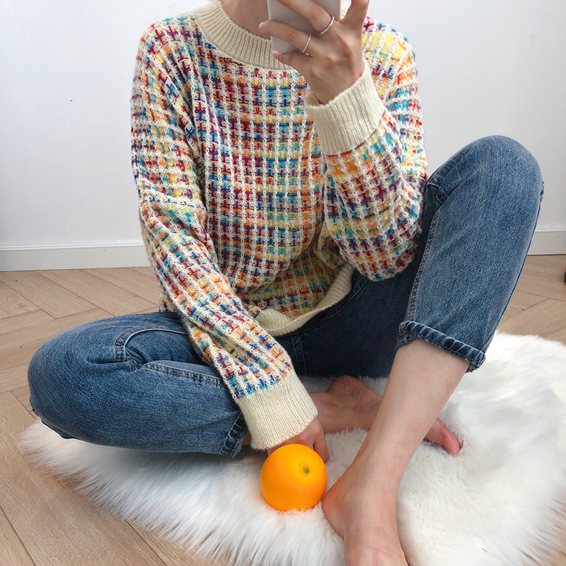 women sweater pullover Rainbow Sweater Women's New Autumn Winter Korean Lazy Wind Loose Turtleneck Top O-Neck mujer chic elegant(China)