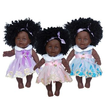 New 30cm Doll+dress  Christmas Best Gift For Baby Girls Black Toy Mini Cute Explosive hairstyle Doll Children