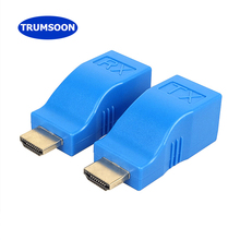 TRUMSOON HDMI Extender RJ45 Lan Network Adapter Cat5e Cat6 Ethernet Cable Transfer 20m 720p1080p Video for Laptop PC DVD TV hdmi extender transmitter tx rx adapter 30m hdmi network extender rj45 cat5e cat6 ethernet lan without hdcp